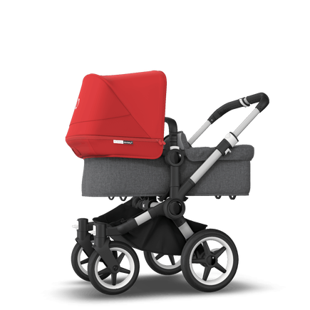 Bugaboo Donkey 3 Mono seat and bassinet stroller red sun canopy, grey melange style set, aluminium base