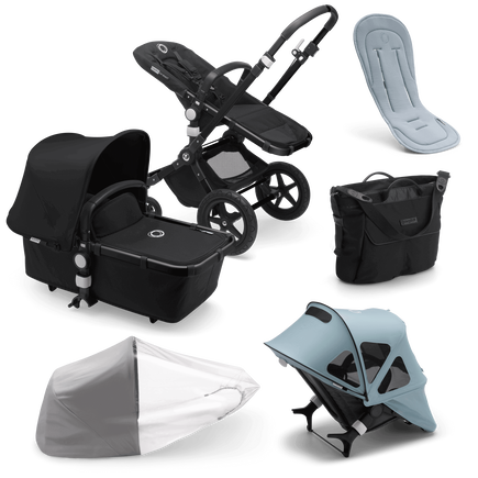 Bugaboo Cameleon 3 Plus bassinet and seat stroller black sun canopy, black fabrics, black base and vapor blue summer accessories