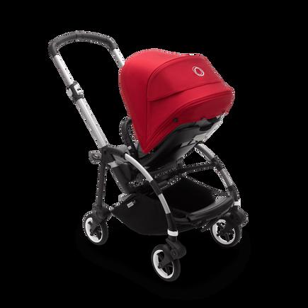 Bugaboo Bee 6 seat stroller red sun canopy, grey mélange fabrics, aluminium base