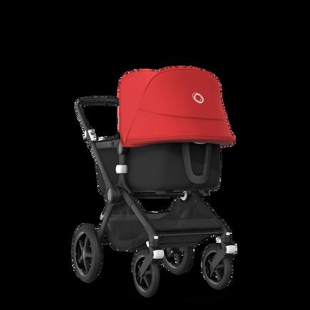 Bugaboo Fox 2 seat and bassinet stroller red sun canopy, black fabrics, black base