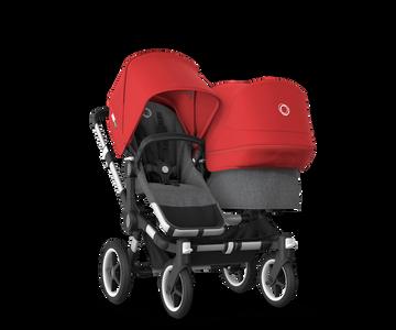 US - Bugaboo D3D stroller bundle aluminum grey melange red