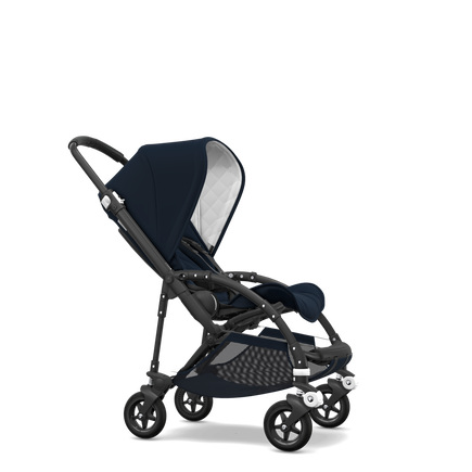 Bugaboo Bee 5 seat stroller classic collection dark navy sun canopy, classic collection dark navy fabrics, black base