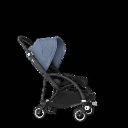 Bugaboo Bee 5 seat stroller blue melange sun canopy, black fabrics, black base