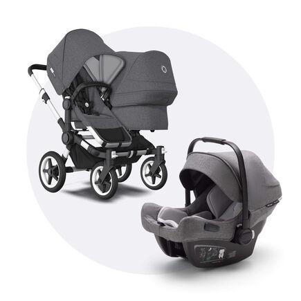 Bugaboo Donkey 3 Duo travel system grey melange sun canopy, grey melange fabrics, aluminium base