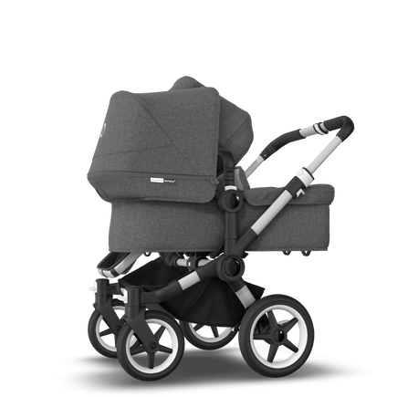 Bugaboo Donkey 3 Duo seat and bassinet stroller grey melange sun canopy, grey melange style set, aluminium base