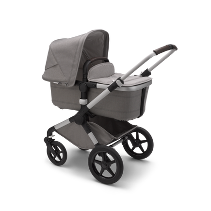 Bugaboo Fox 2 seat and bassinet stroller mineral light grey melange sun canopy, mineral light grey melange fabrics, aluminium chassis