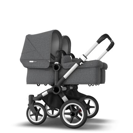 AU - Bugaboo Donkey 3 Twin Seat and Bassinet Stroller Grey Melange, Aluminum chassis