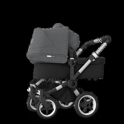 Bugaboo Donkey 3 Duo seat and bassinet stroller grey melange sun canopy, black style set, aluminium base