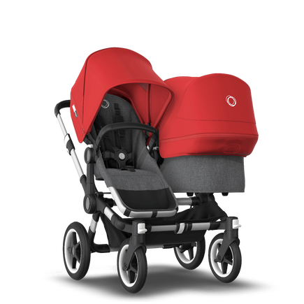 Bugaboo Donkey 3 Duo red sun canopy, grey melange seat, aluminum chassis