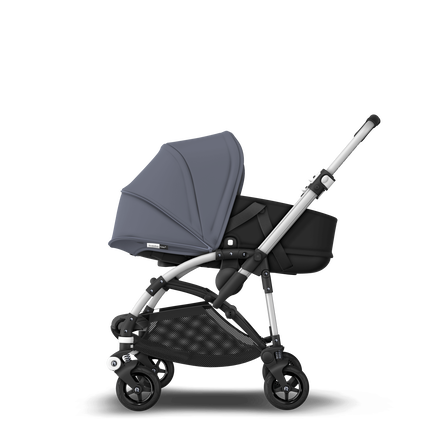 Bugaboo Bee 5 seat and bassinet stroller steel blue sun canopy, black fabrics, aluminium base
