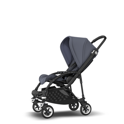 Bugaboo Bee 5 seat stroller steel blue sun canopy, steel blue fabrics, black base