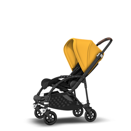 Bugaboo Bee 5 seat stroller sunrise yellow sun canopy, black fabrics, black base