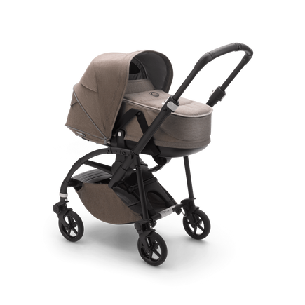 Bugaboo Bee 6 bassinet and seat stroller mineral taupe mélange sun canopy, mineral taupe mélange fabrics, black base