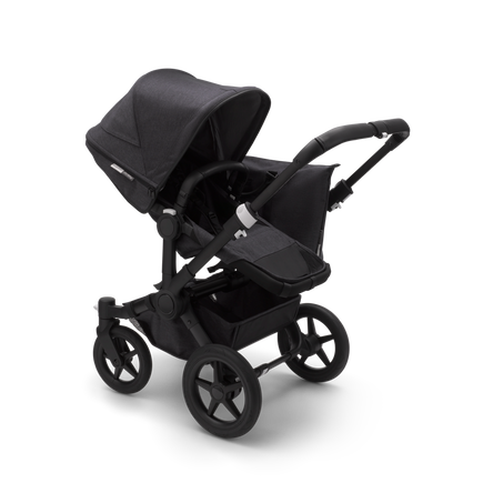 Bugaboo Donkey 3 Mono seat and bassinet stroller mineral washed black sun canopy, mineral washed black fabrics, black base