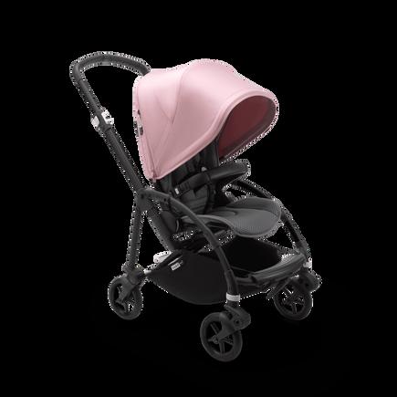 Bugaboo Bee 6 seat stroller soft pink sun canopy, grey mélange fabrics, black base