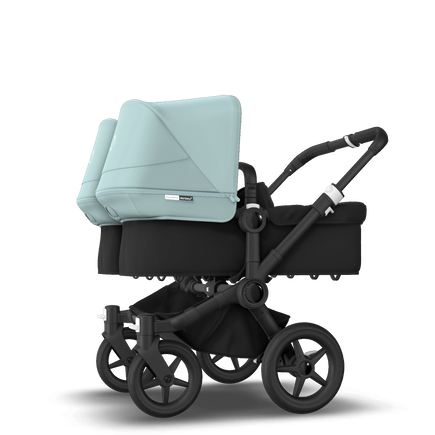 Bugaboo Donkey 3 Twin seat and bassinet stroller vapor blue sun canopy, black fabrics, black base
