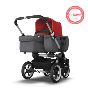US - Bugaboo D3M stroller bundle aluminum grey melange red