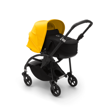 Bugaboo Bee 6 seat and bassinet stroller lemon yellow sun canopy, black fabrics, black base