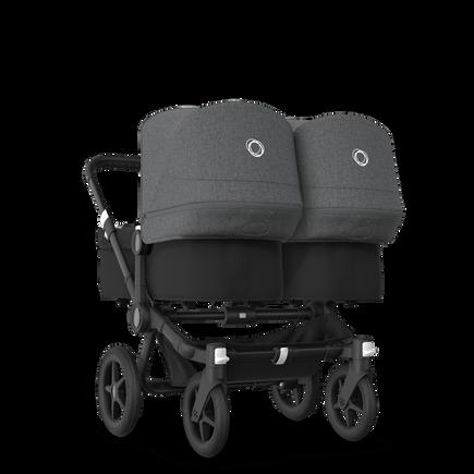 Bugaboo Donkey 3 Twin seat and bassinet stroller grey melange sun canopy, black fabrics, black base