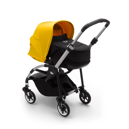 Bugaboo Bee 6 bassinet and seat stroller lemon yellow sun canopy, black fabrics, aluminium base