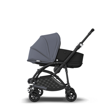 Bugaboo Bee 5 seat and bassinet stroller steel blue sun canopy, black fabrics, black base