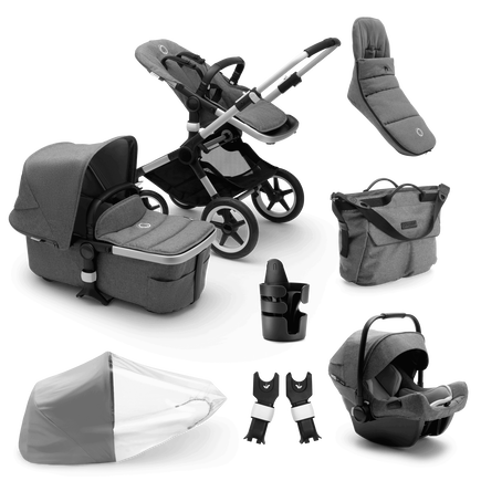 Bugaboo Fox 2 Ready to go bundle grey mélange sun canopy, grey mélange fabrics, aluminium base
