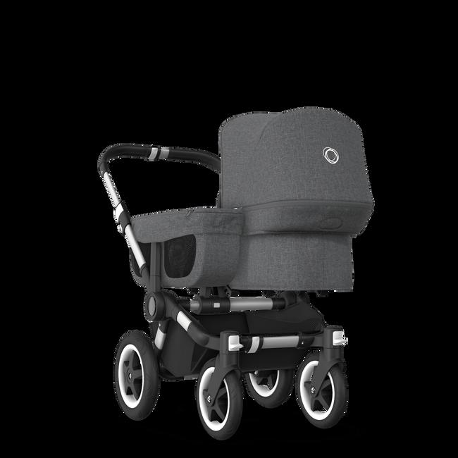 EU Bugaboo Donkey 2 Mono Seat and bassinet Classic Grey Melange, Aluminium Chassis