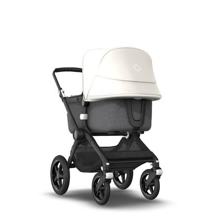 Fox 2 Seat and Bassinet Stroller Fresh White sun canopy, Grey Melange style set, Black chassis