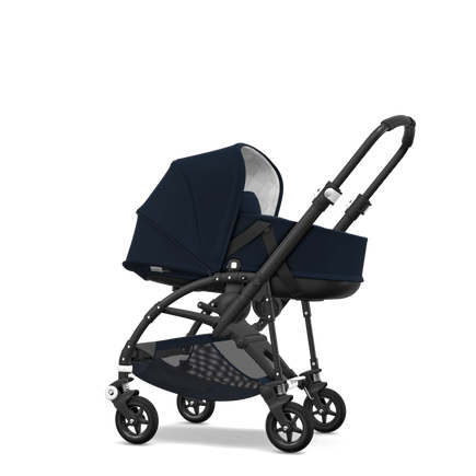 Bugaboo Bee 5 seat and bassinet stroller classic collection dark navy sun canopy, classic collection dark navy fabrics, black base