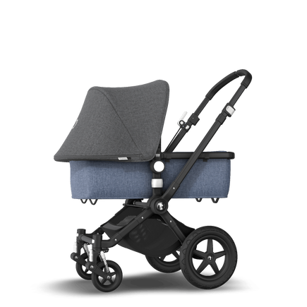 EU -Cameleon 3+ Seat and Bassinet stroller grey melange sun canopy, blue melange fabrics, black base