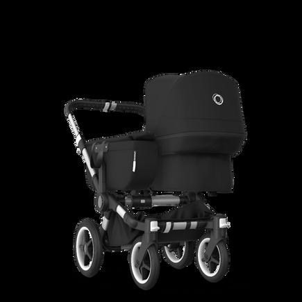 Bugaboo Donkey 3 Mono seat and bassinet stroller black sun canopy, black fabrics, aluminium base