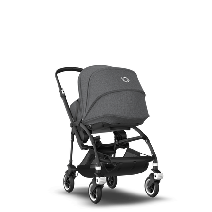 Bugaboo Bee 5 seat and bassinet stroller grey melange sun canopy, grey melange fabrics, black base