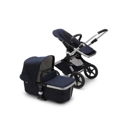 Bugaboo Fox 2 seat and carrycot pushchair classic collection dark nav sun canopy, classic collection dark navy fabrics, aluminium chassis