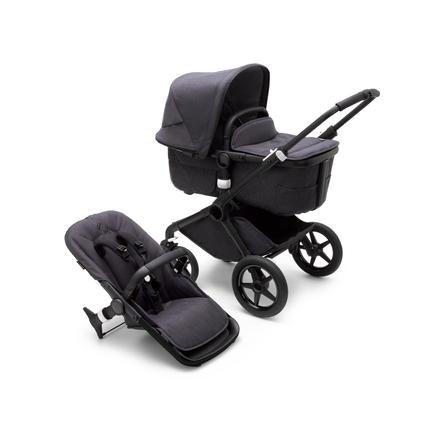 Bugaboo Fox 3 bassinet and seat stroller black base, mineral washed black fabrics, mineral washed black sun canopy