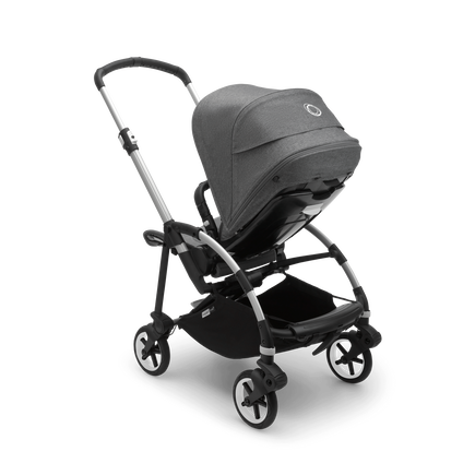 Bugaboo Bee 6 seat pushchair grey melange sun canopy, grey melange fabrics, aluminium base