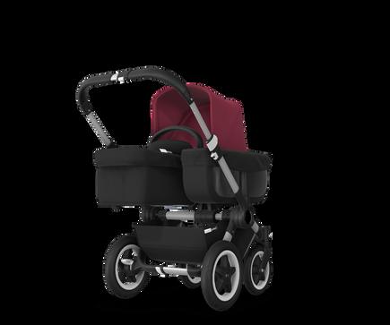 US - D2M stroller bundle aluminum, black, ruby red