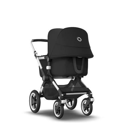 Fox 2 Seat and Bassinet Stroller Black sun canopy, Black style set, Aluminium chassis