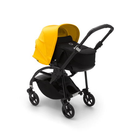 Bugaboo Bee 6 seat and bassinet stroller lemon yellow sun canopy, black fabrics, black base