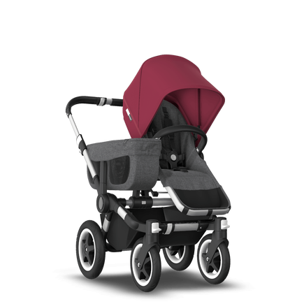 US - D2M stroller bundle aluminum, grey melange, ruby red