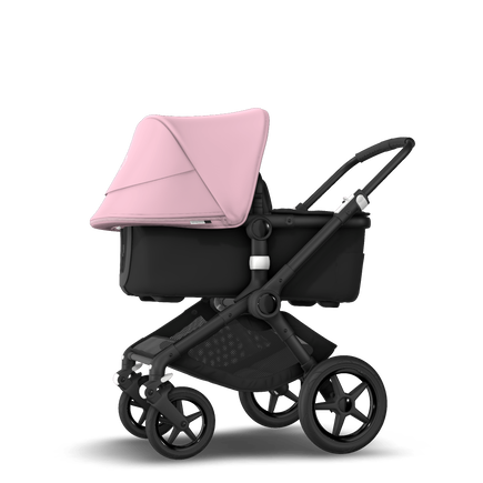 Bugaboo Fox 2 seat and bassinet stroller soft pink sun canopy, black fabrics, black base