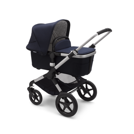 Bugaboo Fox 2 seat and bassinet stroller classic collection dark navy sun canopy, classic collection dark navy fabrics, aluminium chassis