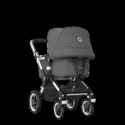 Bugaboo Fox 2 travel system grey melange (nr) sun canopy, grey melange fabrics, aluminium base