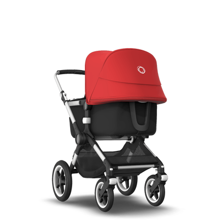 Bugaboo Fox 2 seat and bassinet stroller red sun canopy, black fabrics, aluminium base