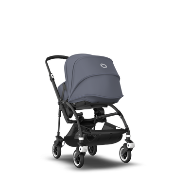 Bugaboo Bee 5 seat and carrycot pushchair steel blue sun canopy, steel blue fabrics, black base