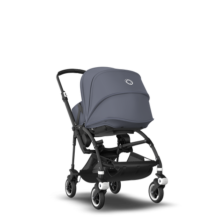 Bugaboo Bee 5 seat and bassinet stroller steel blue sun canopy, steel blue fabrics, black base