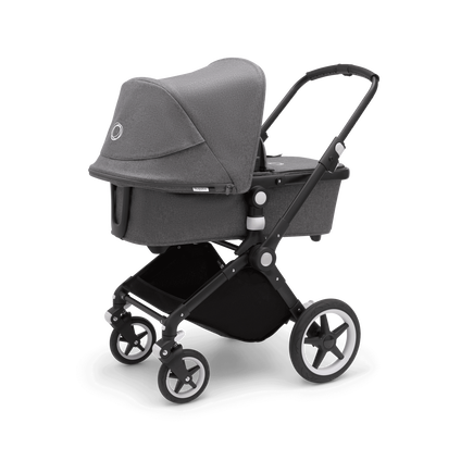 Bugaboo Lynx bassinet and seat stroller grey melange sun canopy, grey melange fabrics, black base