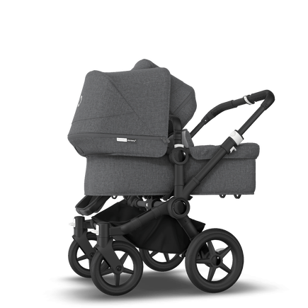 Bugaboo Donkey 3 Duo seat and bassinet stroller grey melange sun canopy, grey melange fabrics, black base