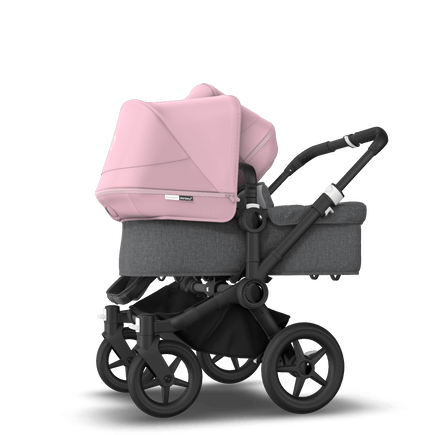 Bugaboo Donkey 3 Duo seat and bassinet stroller soft pink sun canopy, grey melange fabrics, black base