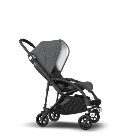 Bugaboo Bee 5 seat stroller classic collection grey melange sun canopy, classic collection grey melange fabrics, black base