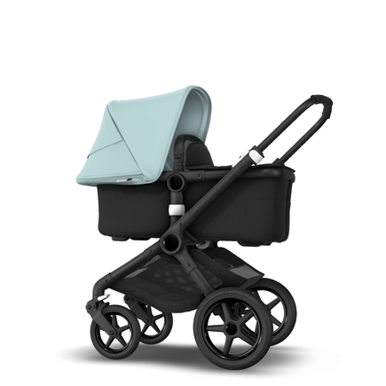 AU - Bugaboo Fox 2 Seat and Bassinet Stroller Vapor Blue sun canopy, Black style set, Black chassis